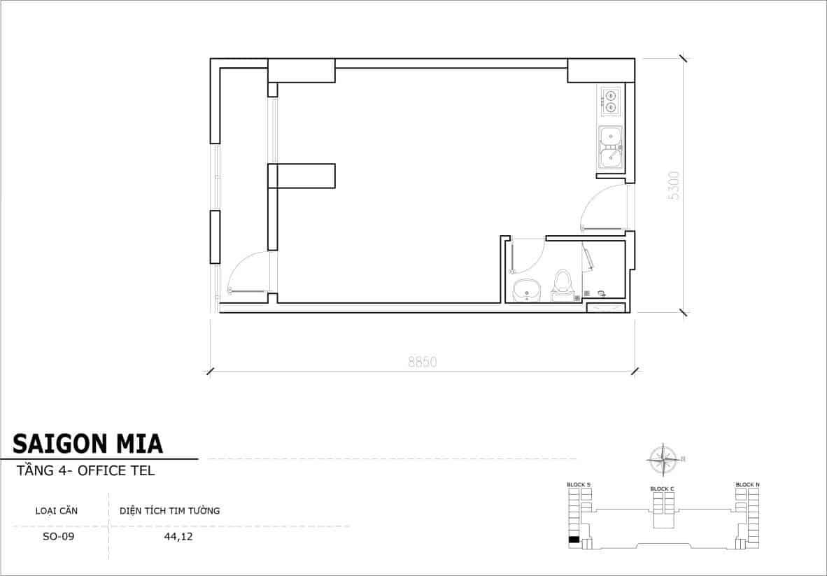 Chi tiết thiết kế Offcetel Sài Gòn Mia căn SO-09 (Tầng 4)