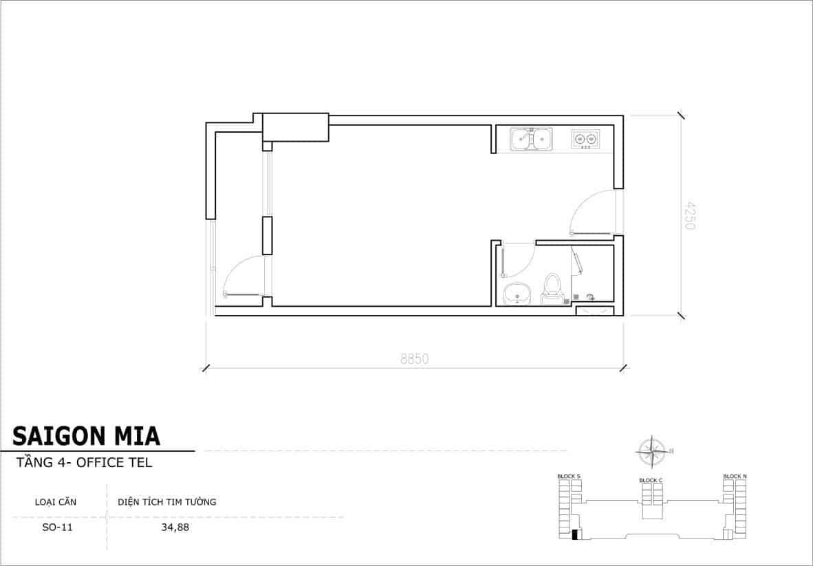 Chi tiết thiết kế Offcetel Sài Gòn Mia căn SO-11 (Tầng 4)
