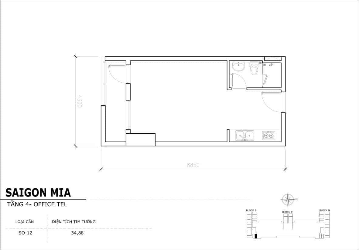 Chi tiết thiết kế Offcetel Sài Gòn Mia căn SO-12 (Tầng 4)