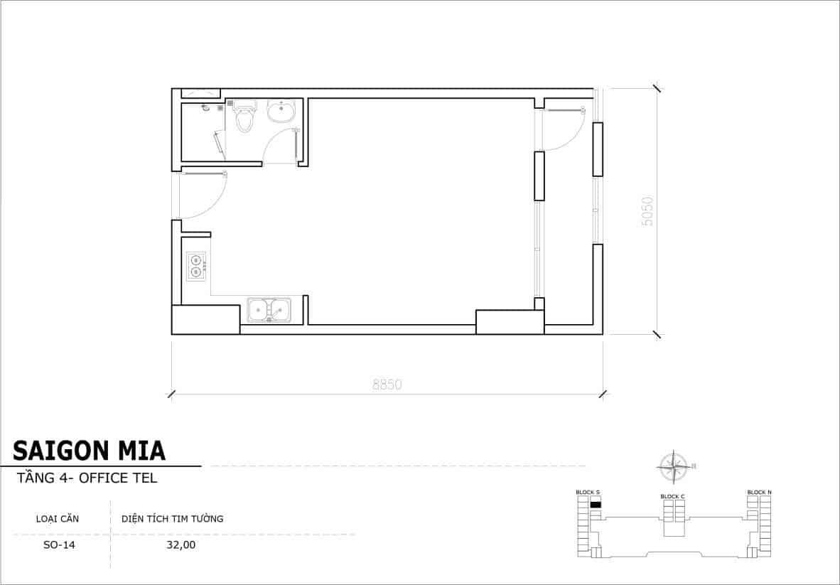 Chi tiết thiết kế Offcetel Sài Gòn Mia căn SO-14 (Tầng 4)