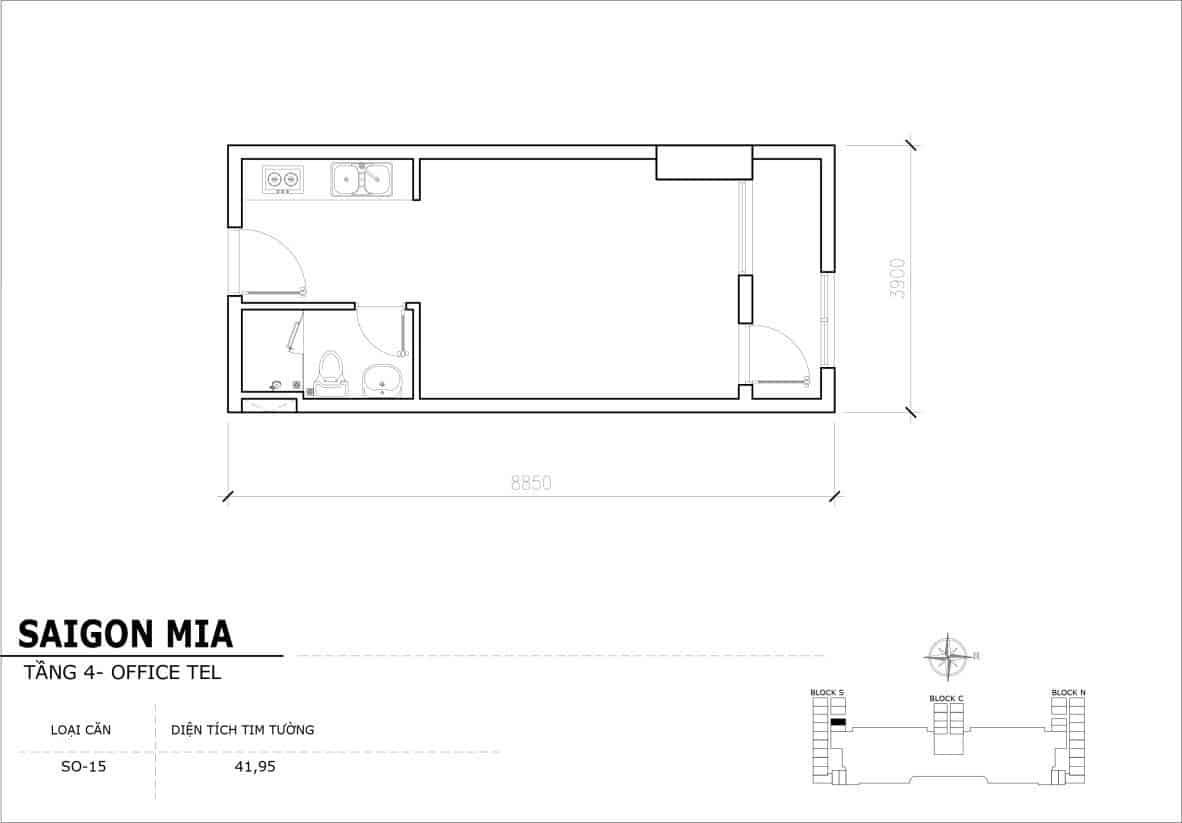Chi tiết thiết kế Offcetel Sài Gòn Mia căn SO-15 (Tầng 4)