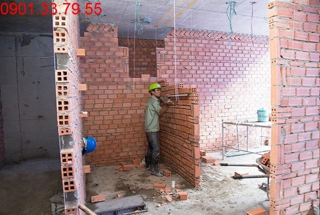 Xây tường bao và vách ngăn căn hộ tầng 5 block A; tầng 6 block B; tầng 8 block C; và tầng 9 block D Sky Center Tân Bình