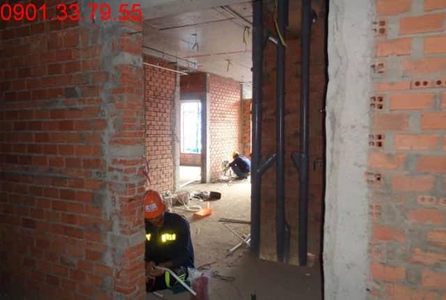 Thi công M&E tầng 2 block A-B-C-D