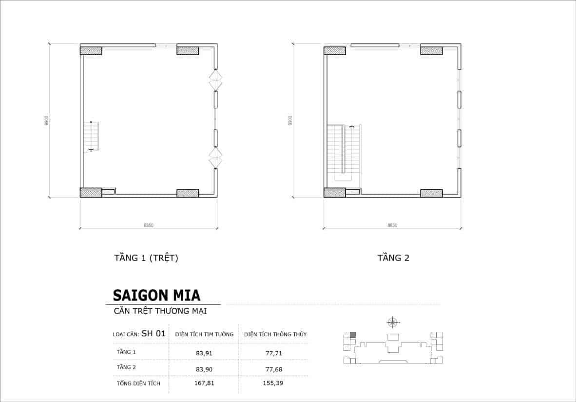 Chi tiết thiết kế căn SH1 Shophouse Sài gòn Mia