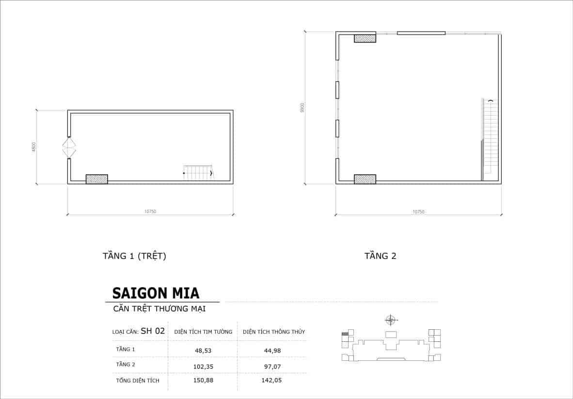 Chi tiết thiết kế căn SH2 Shophouse Sài gòn Mia