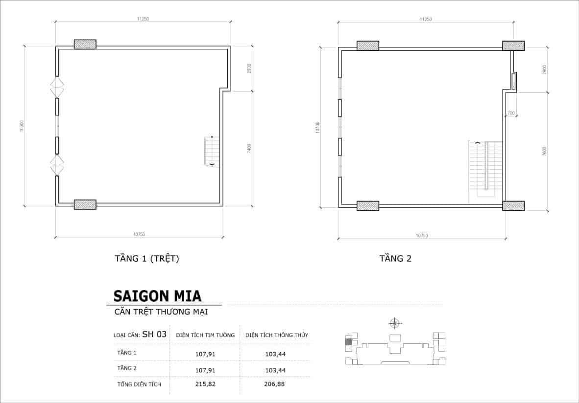 Chi tiết thiết kế căn SH3 Shophouse Sài gòn Mia