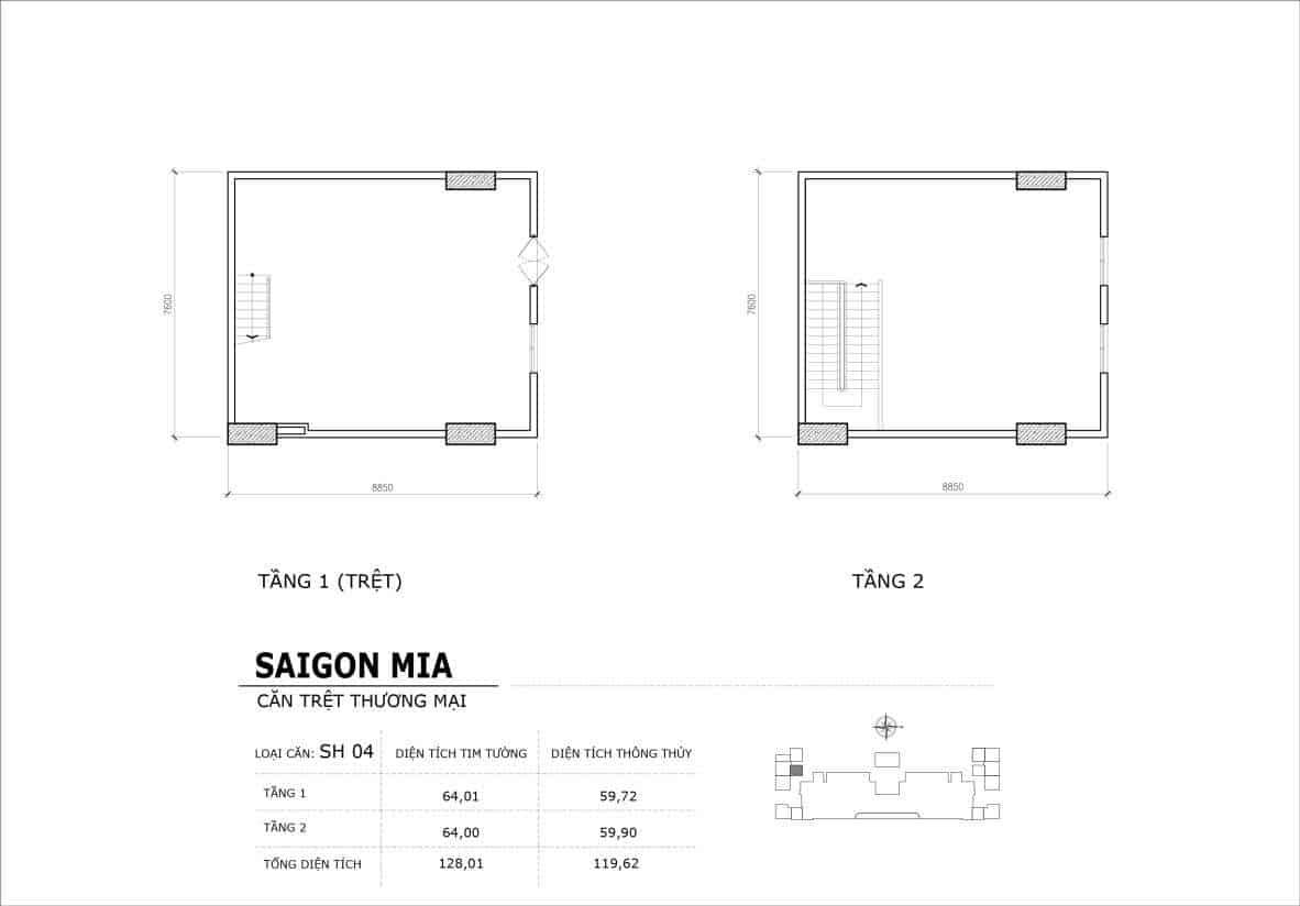 Chi tiết thiết kế căn SH4 Shophouse Sài gòn Mia