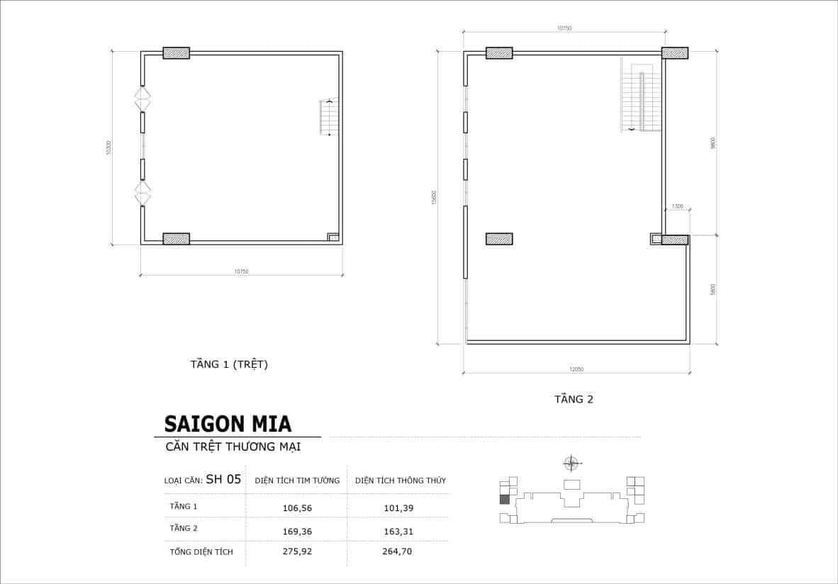 Chi tiết thiết kế căn SH5 Shophouse Sài gòn Mia