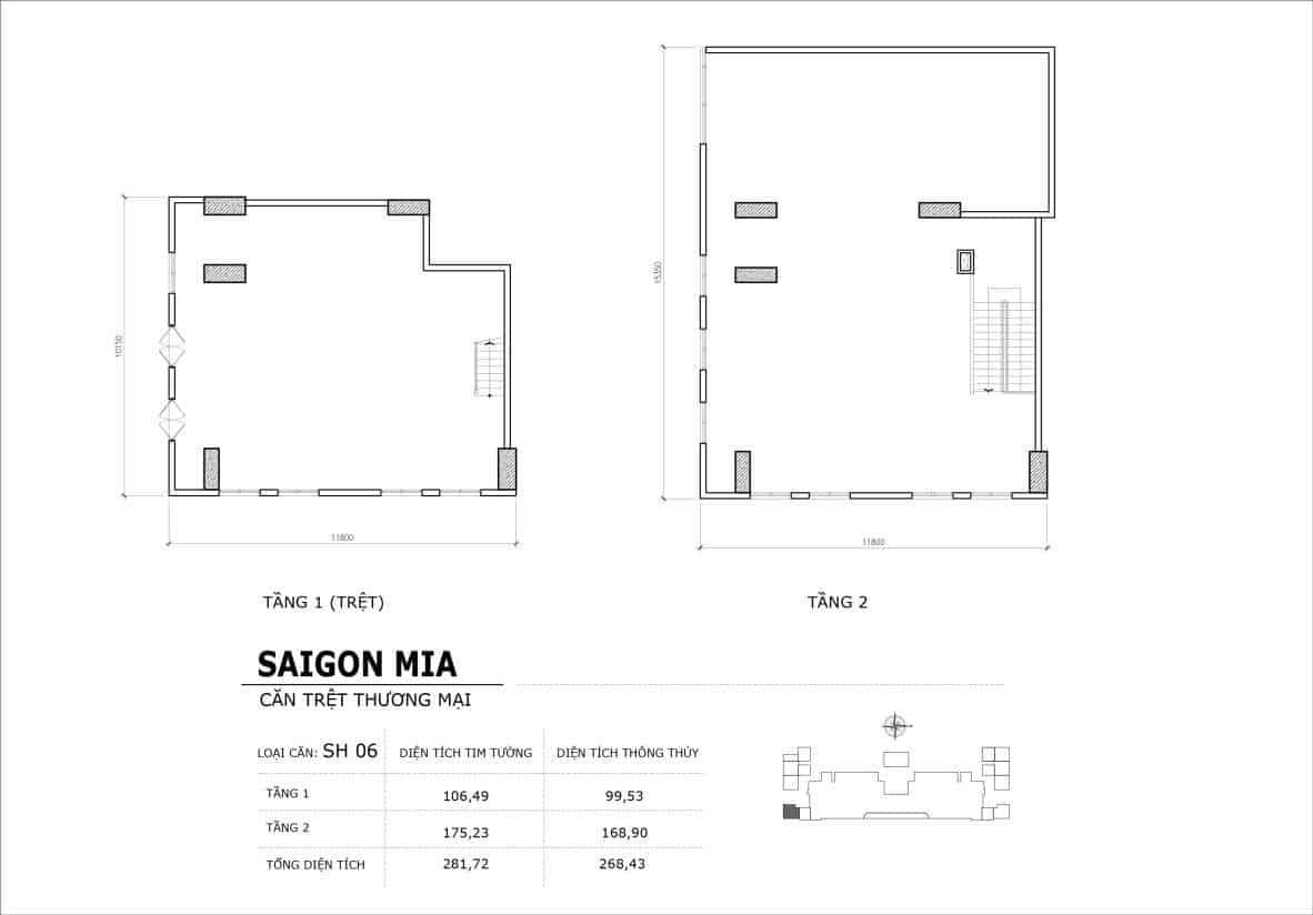 Chi tiết thiết kế căn SH6 Shophouse Sài gòn Mia