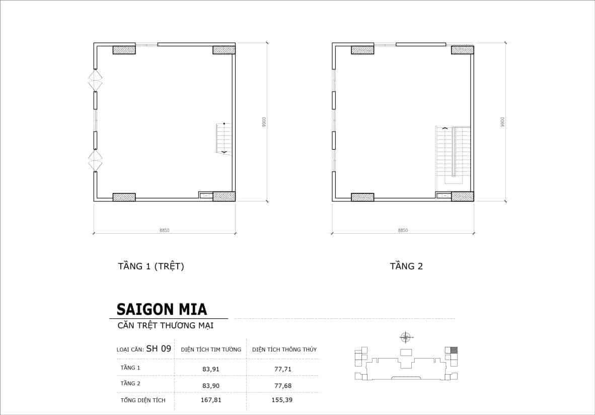 Chi tiết thiết kế căn SH9 Shophouse Sài gòn Mia