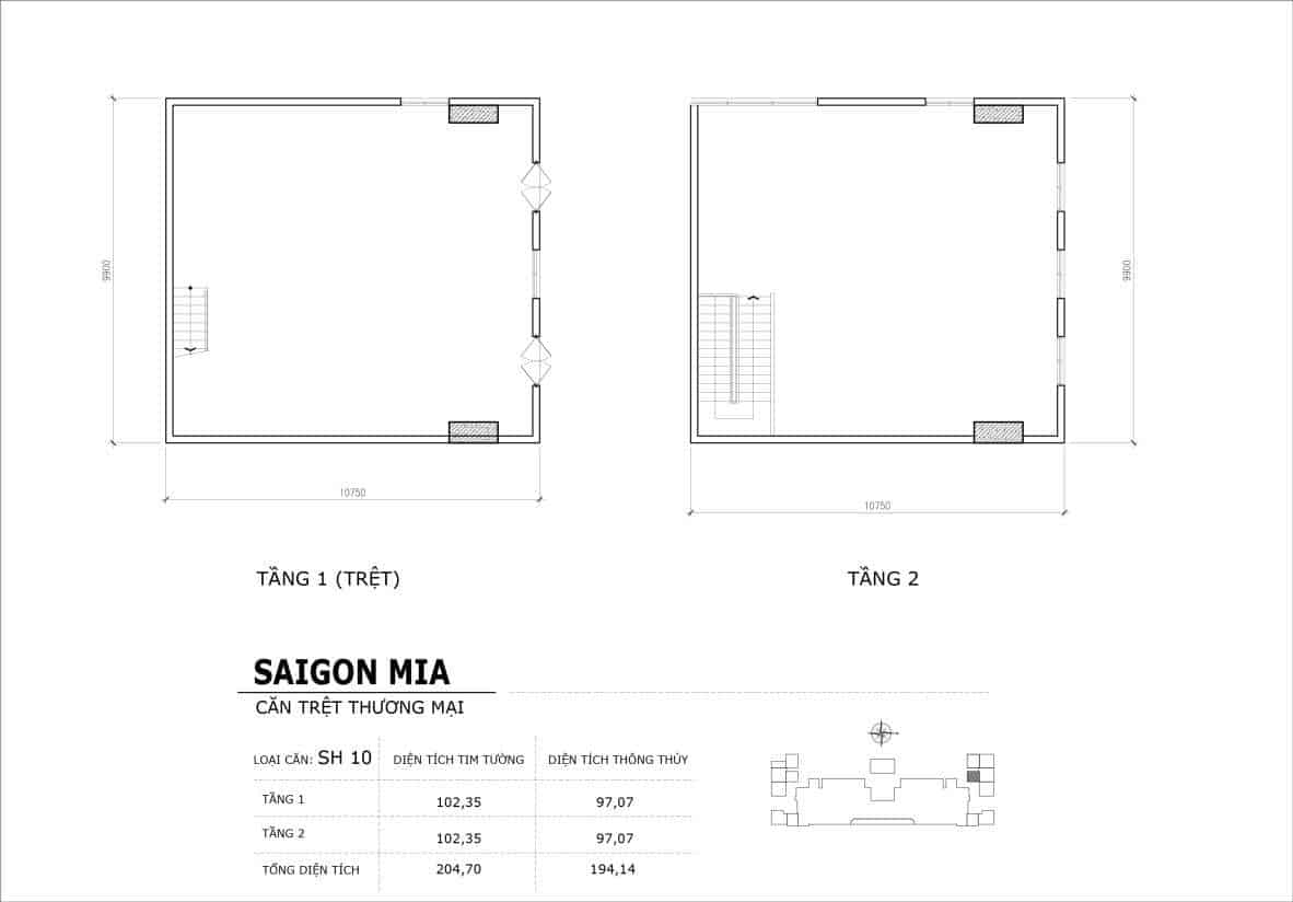 Chi tiết thiết kế căn SH10 Shophouse Sài gòn Mia
