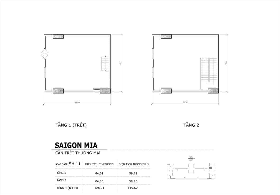 Chi tiết thiết kế căn SH11 Shophouse Sài gòn Mia