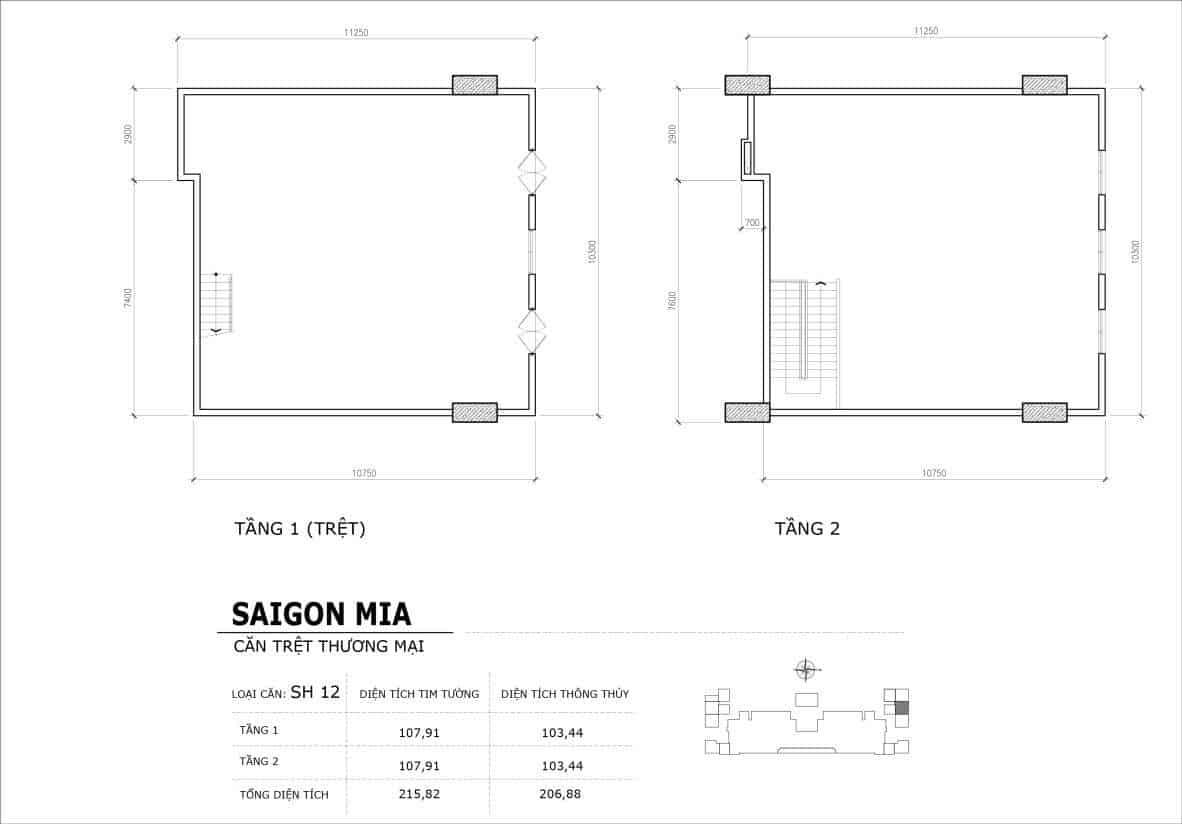 Chi tiết thiết kế căn SH12 Shophouse Sài gòn Mia
