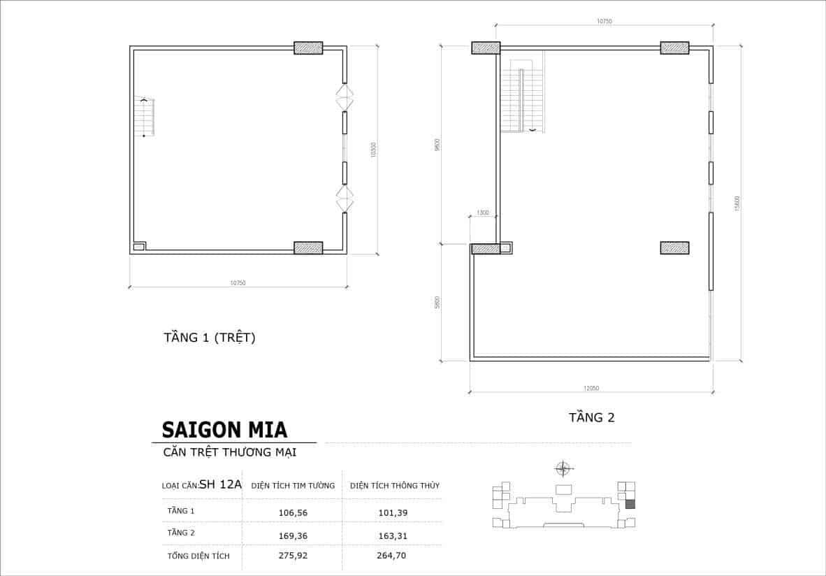 Chi tiết thiết kế căn SH13 Shophouse Sài gòn Mia