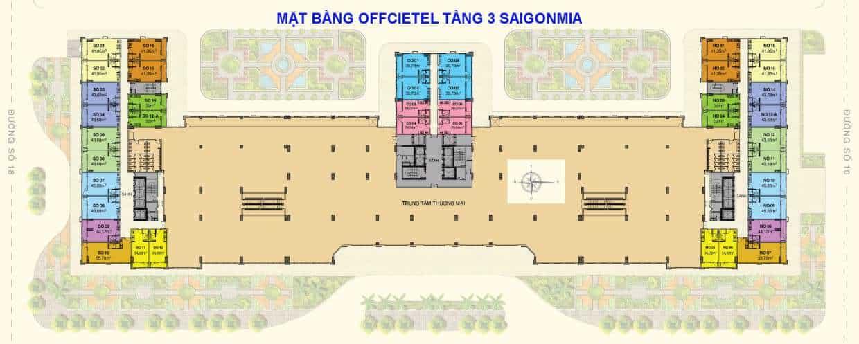 Mặt bằng tầng 3 Officetel Sài Gòn Mia