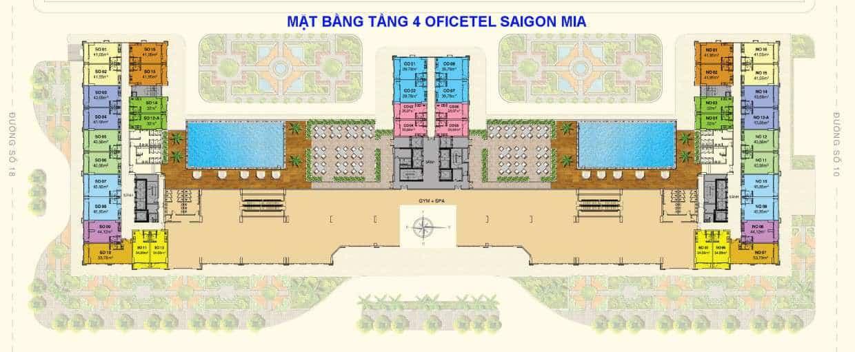 Mặt bằng Officetel tầng 4 Sài Gòn Mia