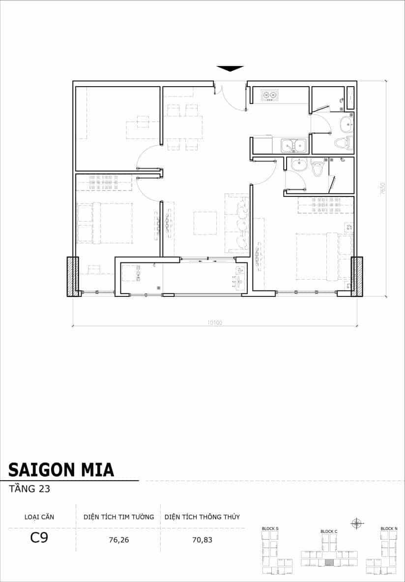Chi tiết mặt bằng căn hộ tầng 22-23- block North Sài Gòn Mia-Căn C9