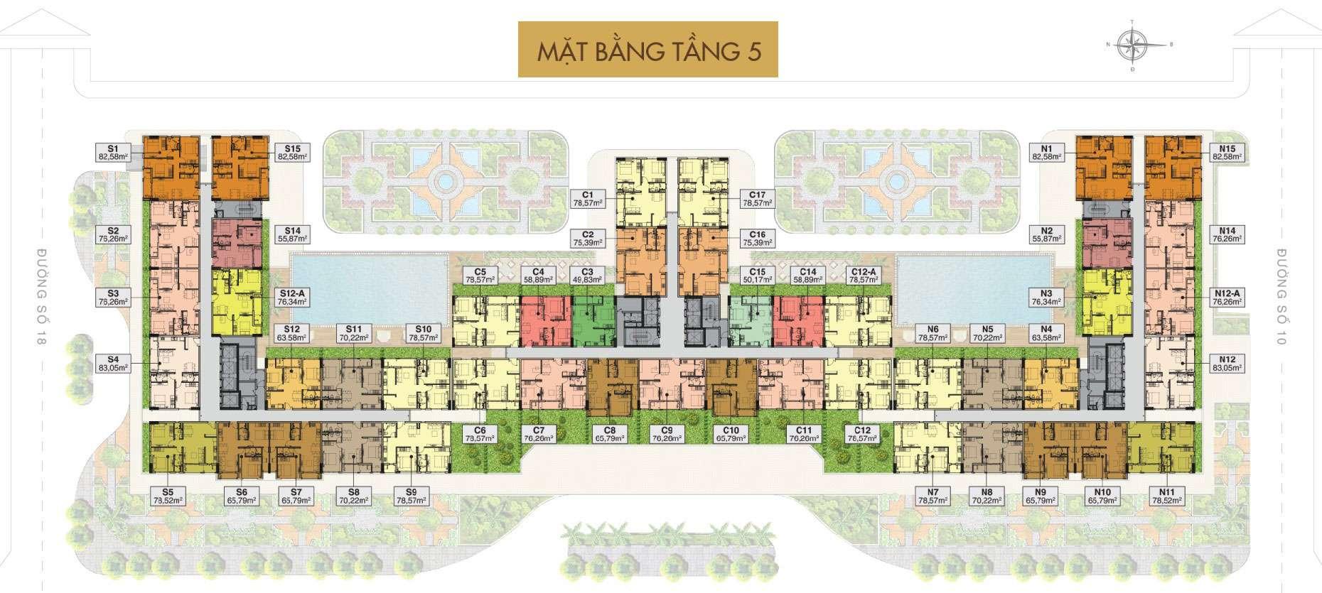 Mặt bằng tổng thể căn hộ snâ vườn tầng 5 Sài Gòn Mia