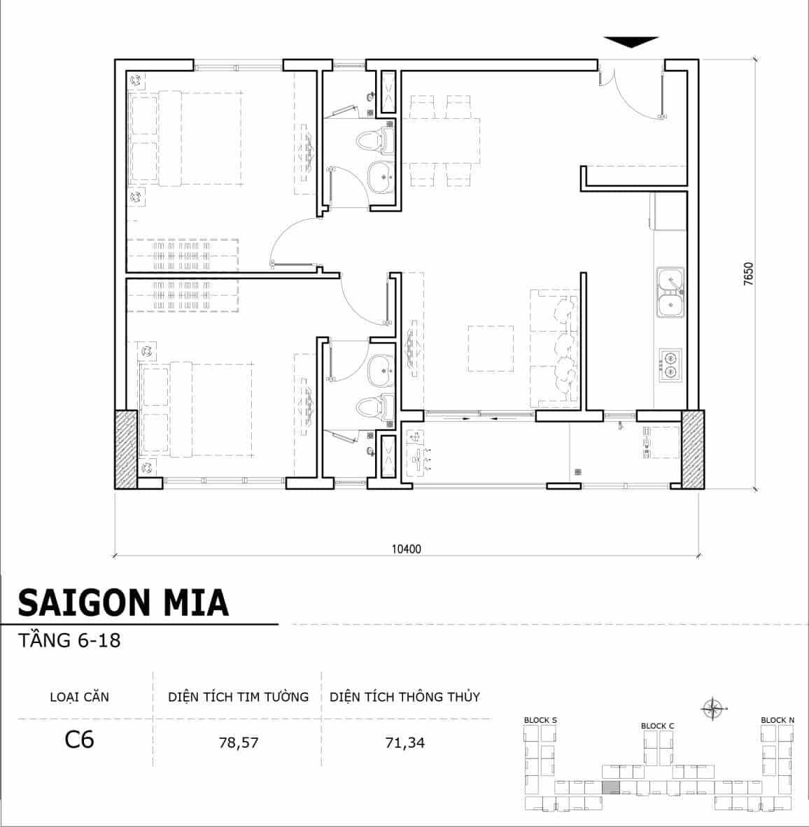 Chi tiết thiết kế căn hộ điển hình tầng 6-18 dự án Sài Gòn Mia - Căn C6