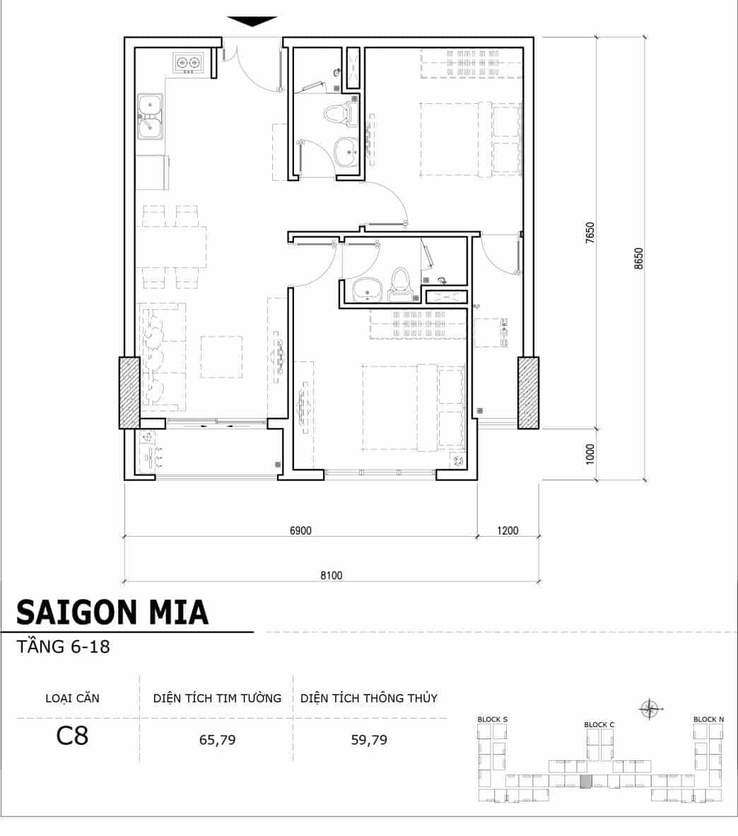 Chi tiết thiết kế căn hộ điển hình tầng 6-18 dự án Sài Gòn Mia - Căn C8