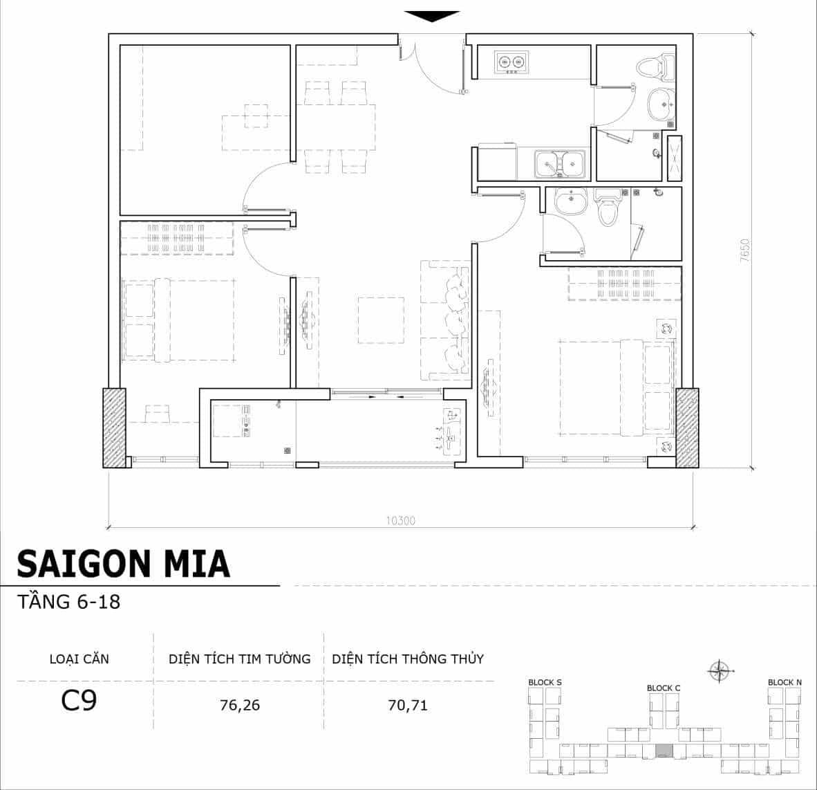 Chi tiết thiết kế căn hộ điển hình tầng 6-18 dự án Sài Gòn Mia - Căn C9