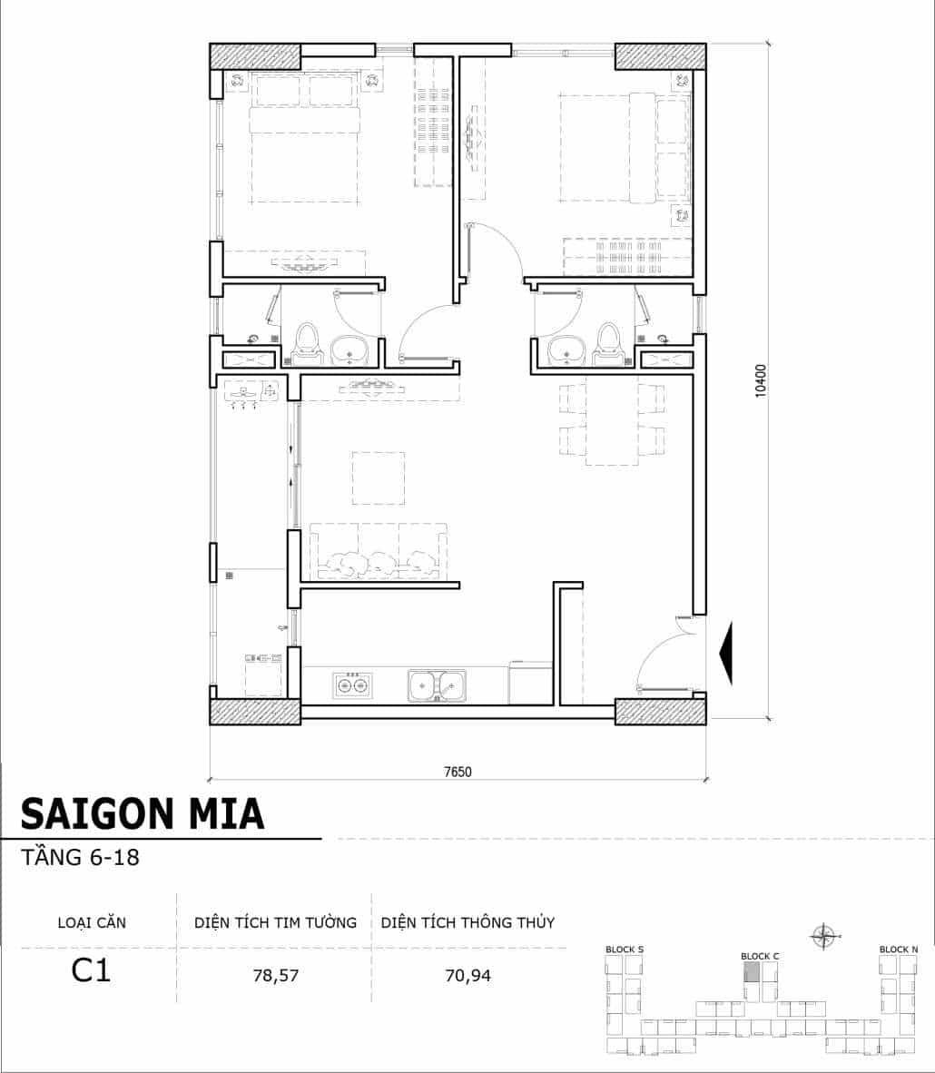 Chi tiết thiết kế căn hộ điển hình tầng 6-18 dự án Sài Gòn Mia - Căn C1