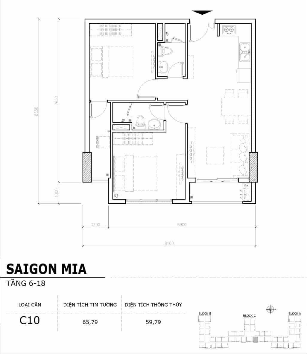 Chi tiết thiết kế căn hộ điển hình tầng 6-18 dự án Sài Gòn Mia - Căn C10