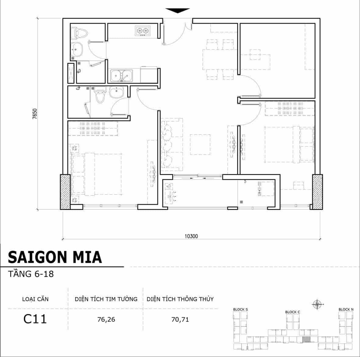 Chi tiết thiết kế căn hộ điển hình tầng 6-18 dự án Sài Gòn Mia - Căn C11