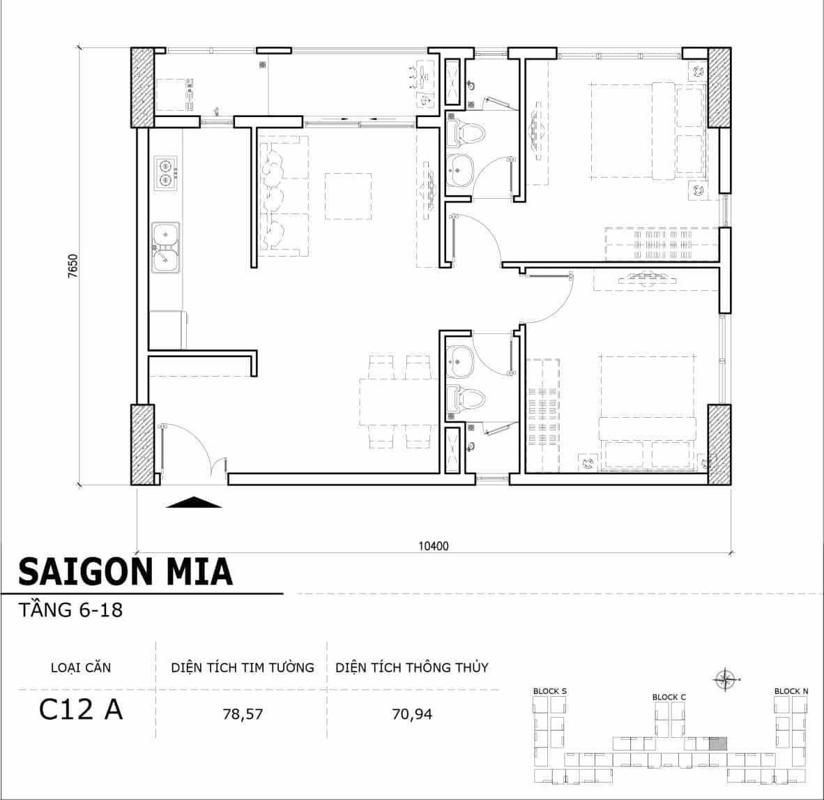 Chi tiết thiết kế căn hộ điển hình tầng 6-18 dự án Sài Gòn Mia - Căn C12A