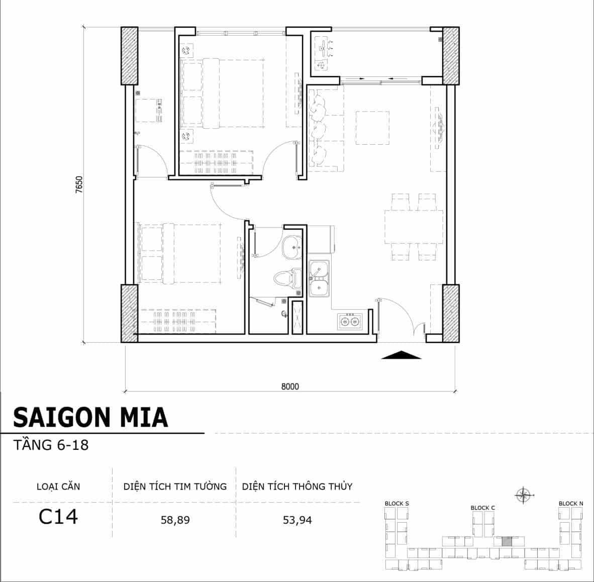 Chi tiết thiết kế căn hộ điển hình tầng 6-18 dự án Sài Gòn Mia - Căn C14