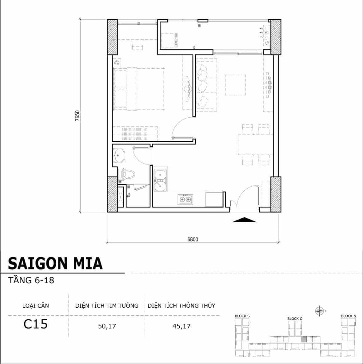 Chi tiết thiết kế căn hộ điển hình tầng 6-18 dự án Sài Gòn Mia - Căn C15