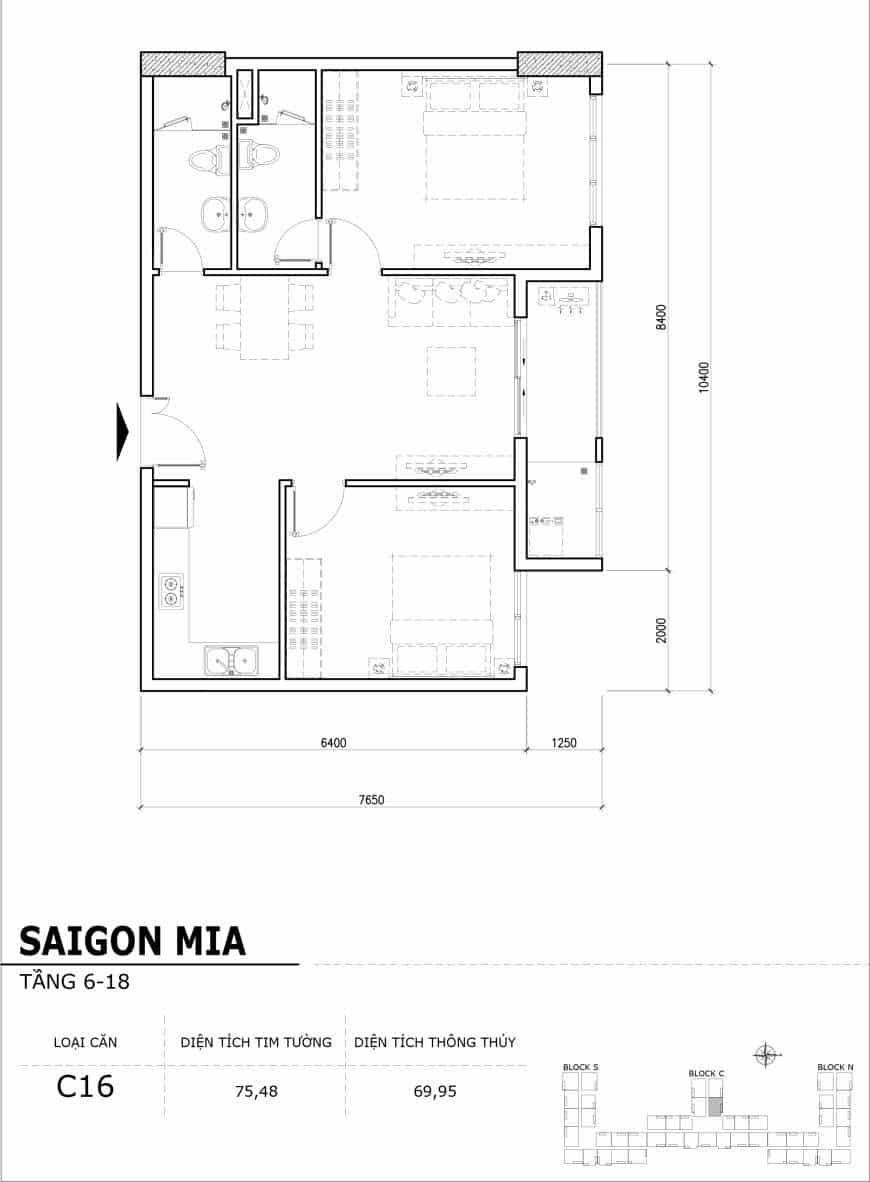 Chi tiết thiết kế căn hộ điển hình tầng 6-18 dự án Sài Gòn Mia - Căn C16