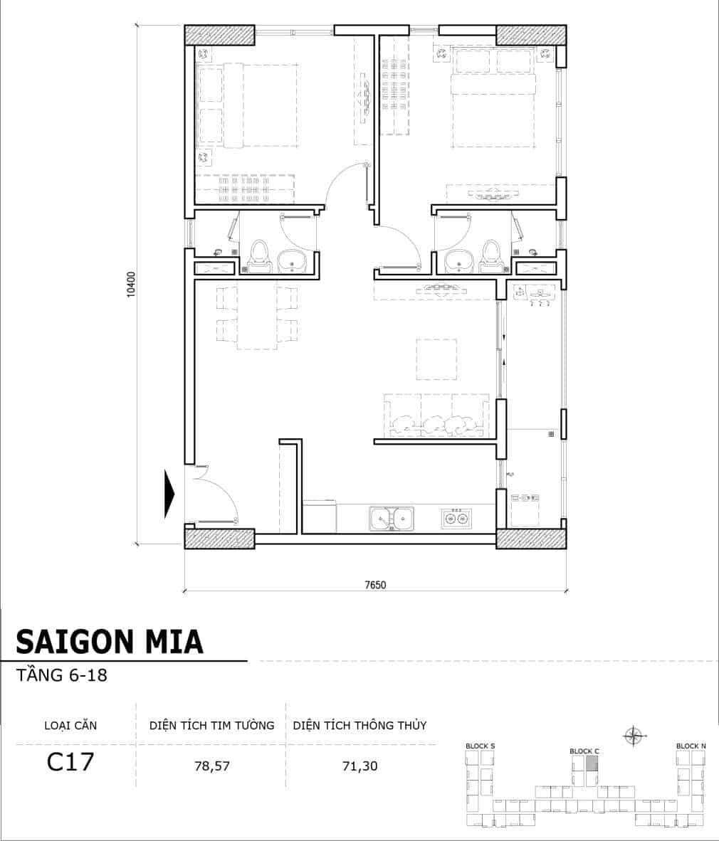 Chi tiết thiết kế căn hộ điển hình tầng 6-18 dự án Sài Gòn Mia - Căn C17