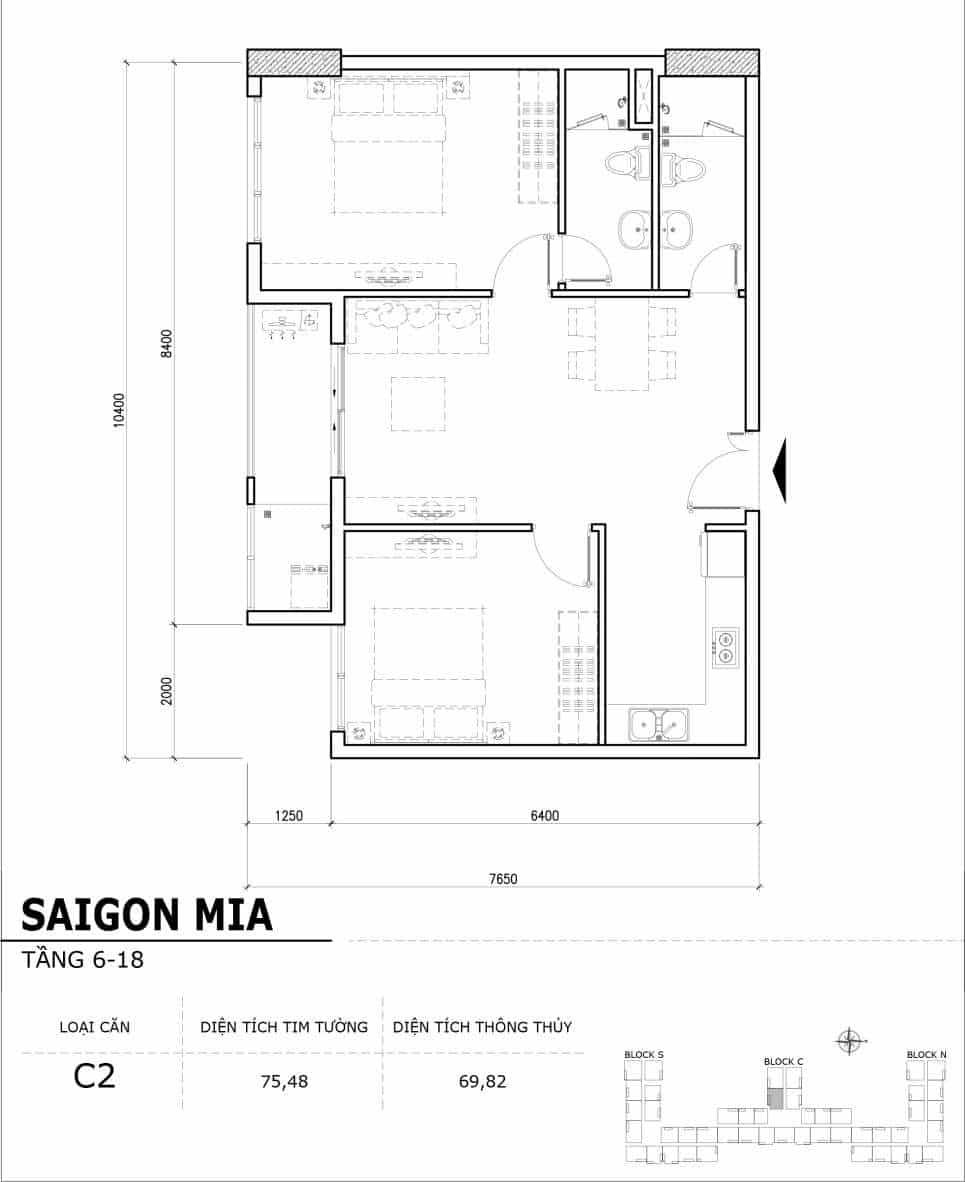 Chi tiết thiết kế căn hộ điển hình tầng 6-18 dự án Sài Gòn Mia - Căn C2