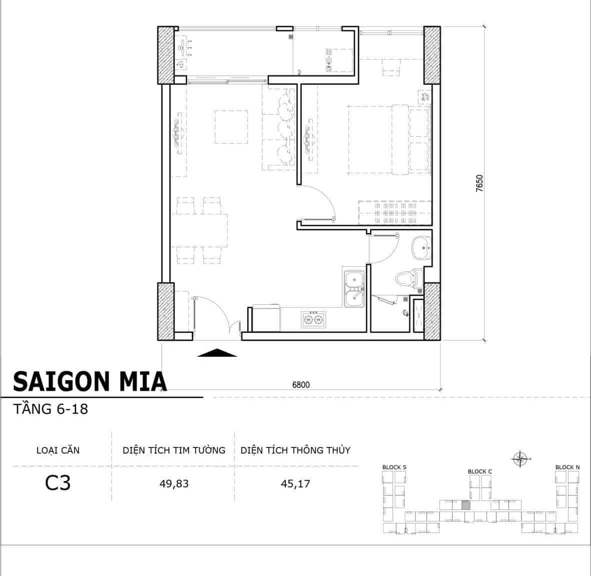 Chi tiết thiết kế căn hộ điển hình tầng 6-18 dự án Sài Gòn Mia - Căn C3