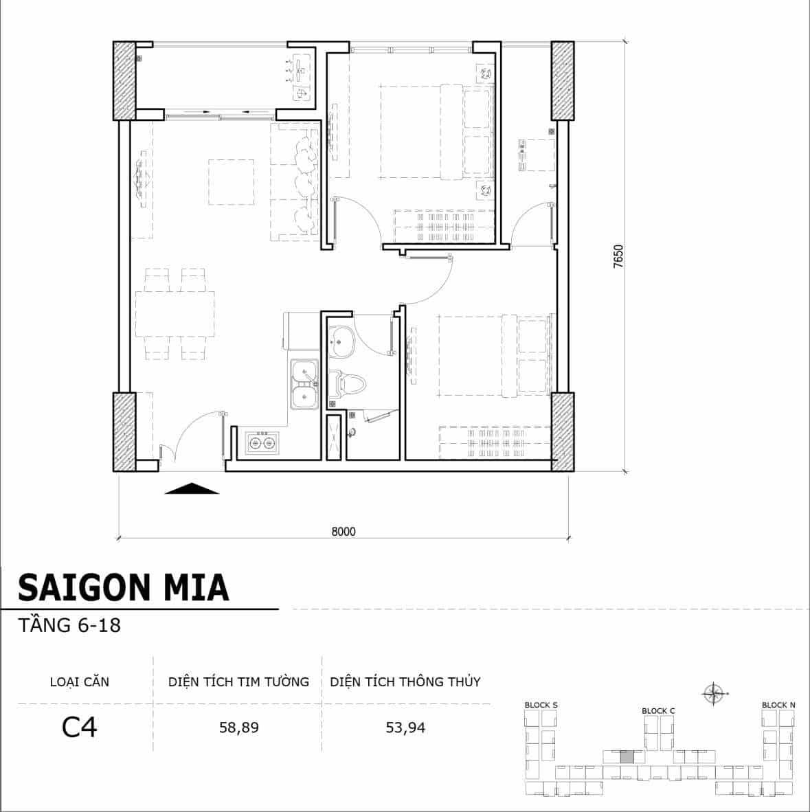 Chi tiết thiết kế căn hộ điển hình tầng 6-18 dự án Sài Gòn Mia - Căn C4