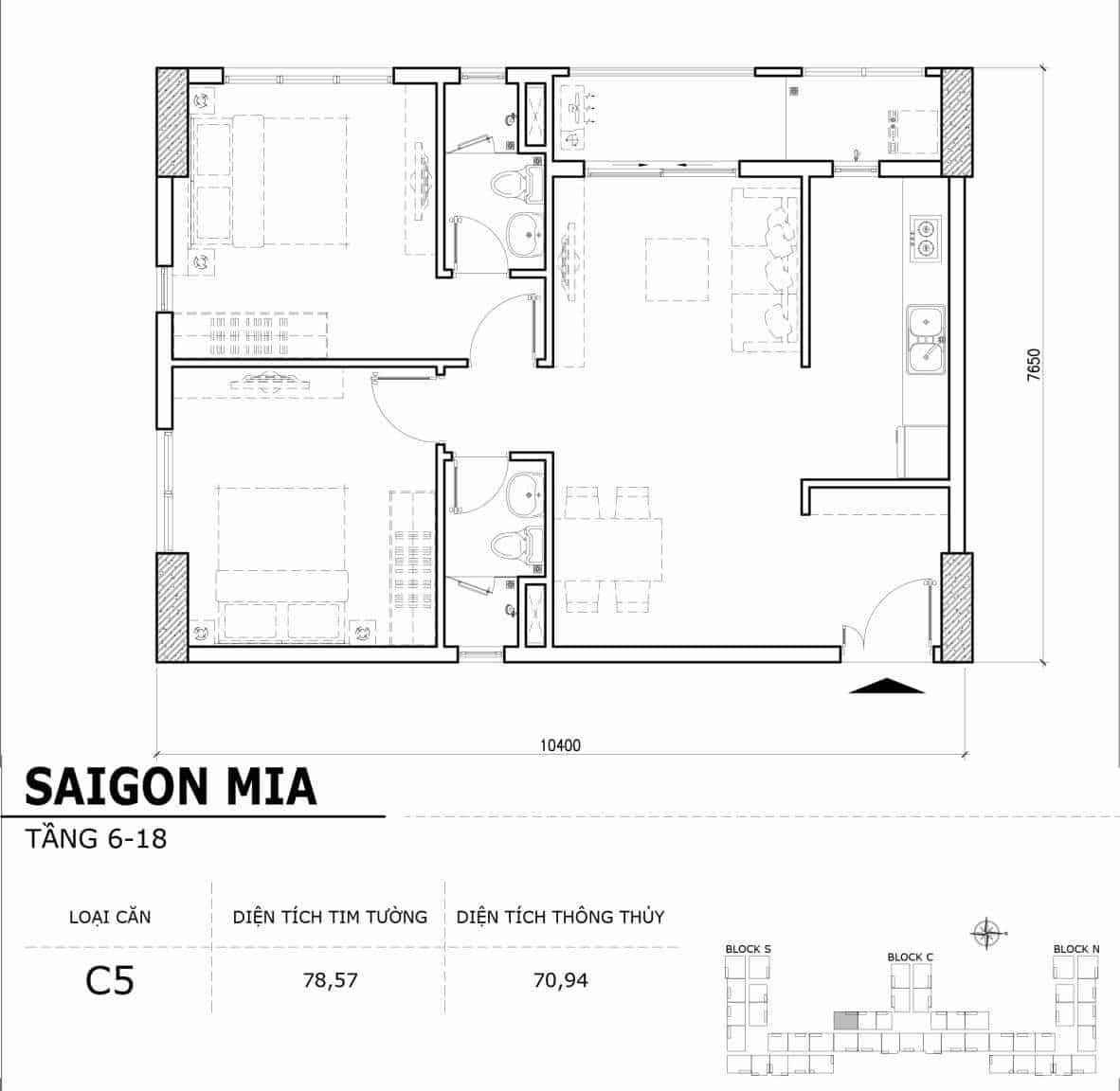 Chi tiết thiết kế căn hộ điển hình tầng 6-18 dự án Sài Gòn Mia - Căn C5
