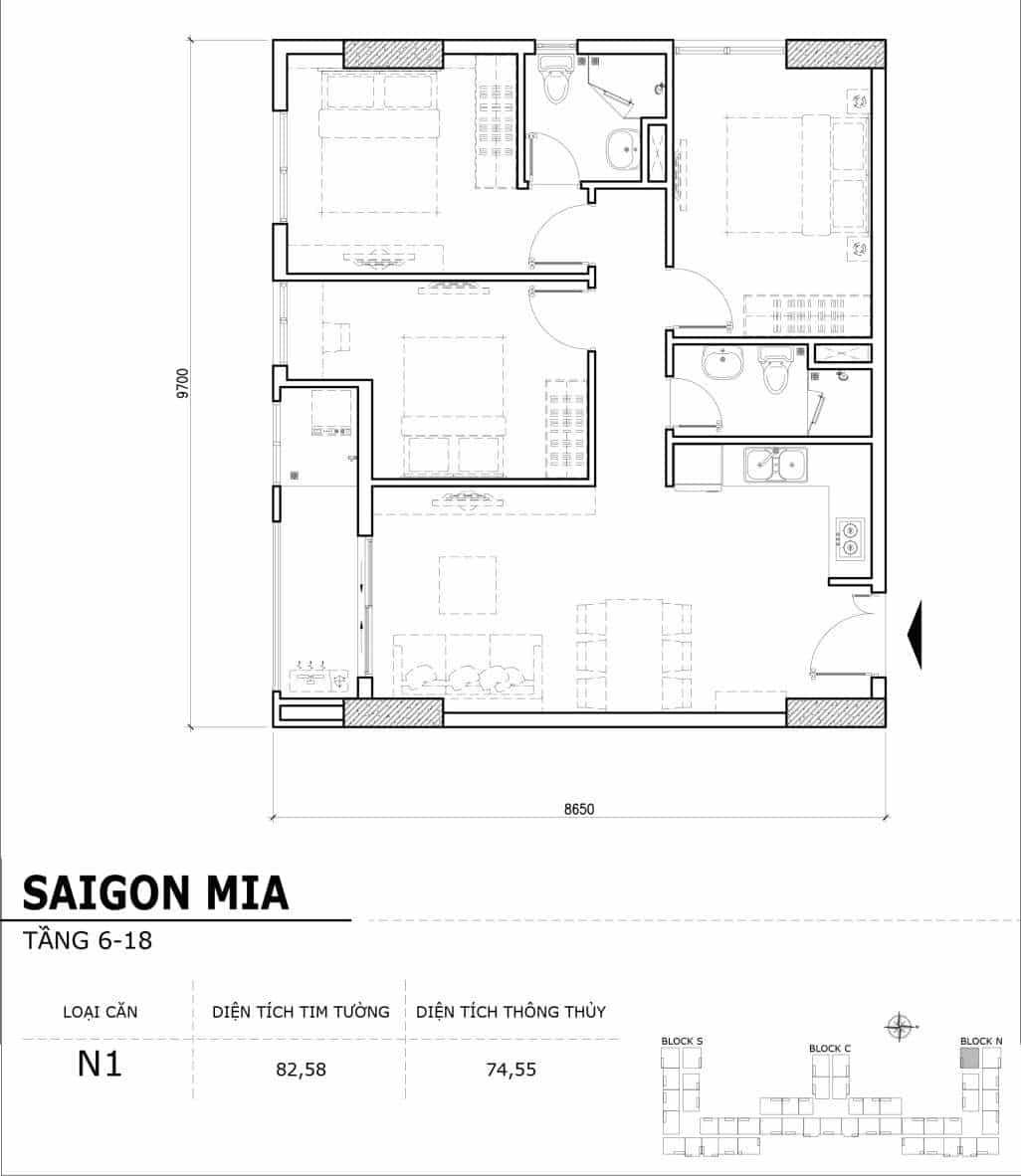 Chi tiết thiết kế căn hộ điển hình tầng 6-18 dự án Sài Gòn Mia - Căn N1