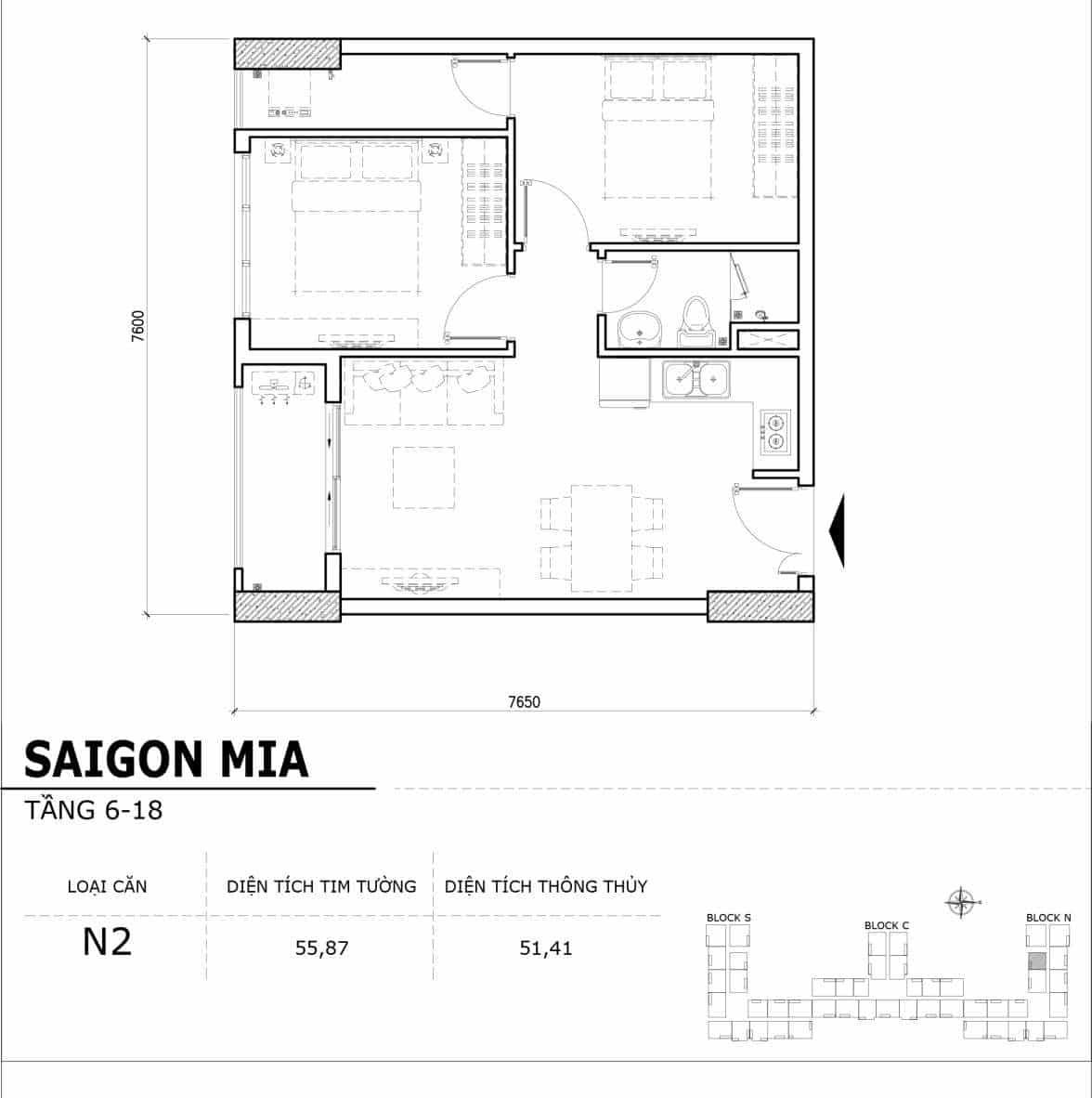 Chi tiết thiết kế căn hộ điển hình tầng 6-18 dự án Sài Gòn Mia - Căn N2