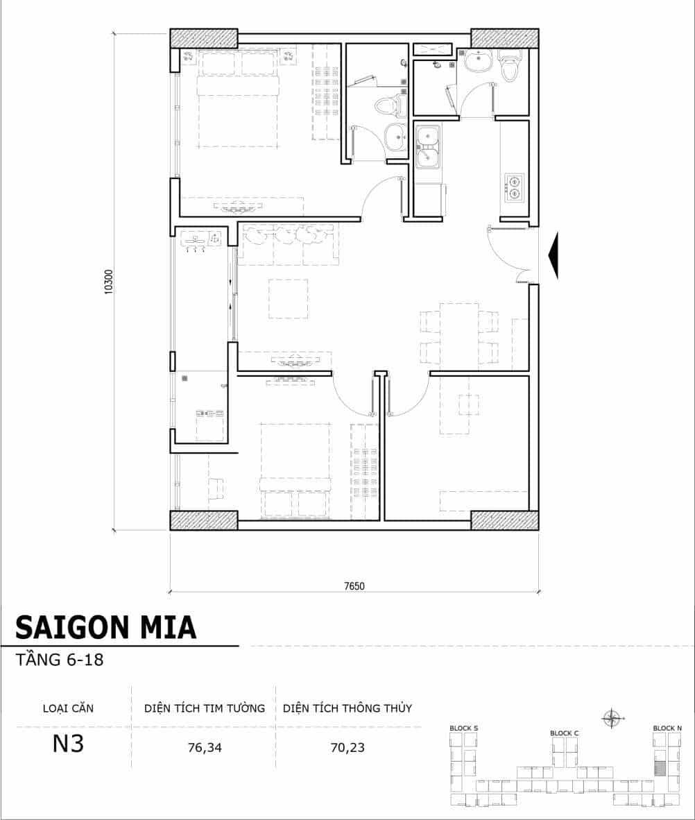 Chi tiết thiết kế căn hộ điển hình tầng 6-18 dự án Sài Gòn Mia - Căn N3