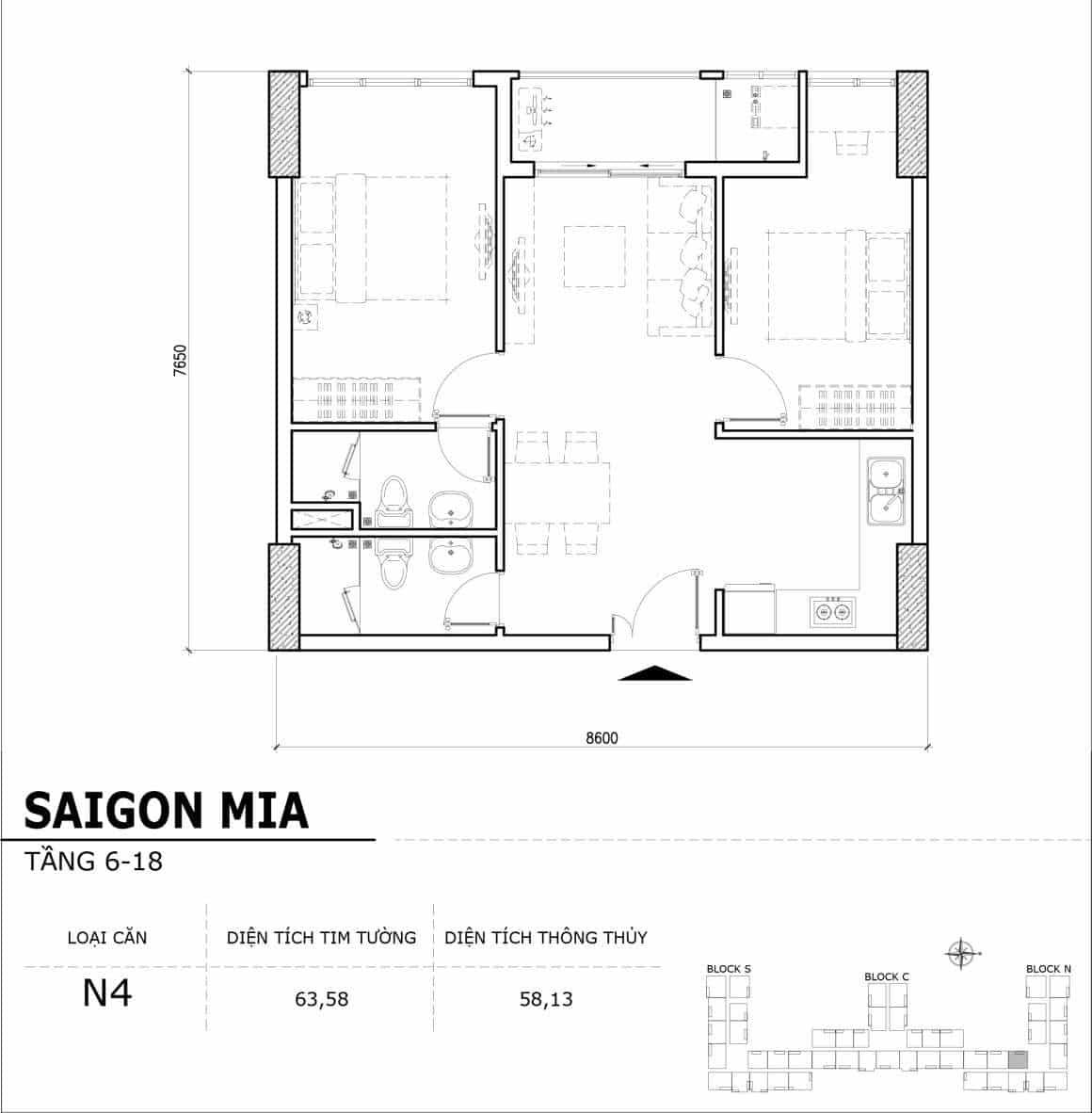 Chi tiết thiết kế căn hộ điển hình tầng 6-18 dự án Sài Gòn Mia - Căn N4