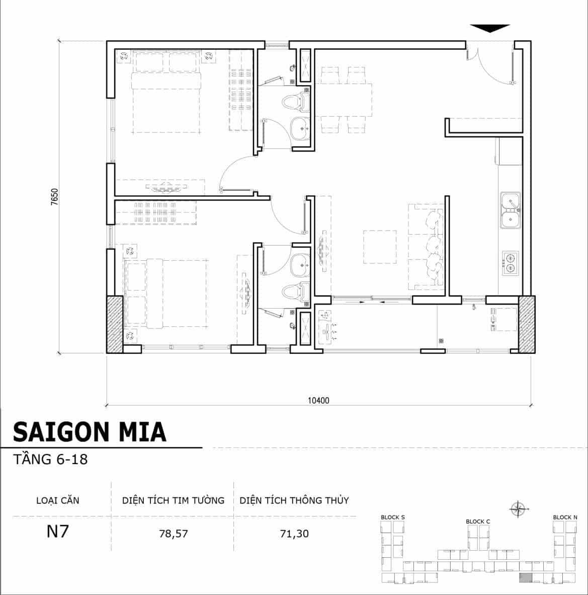 Chi tiết thiết kế căn hộ điển hình tầng 6-18 dự án Sài Gòn Mia - Căn N7