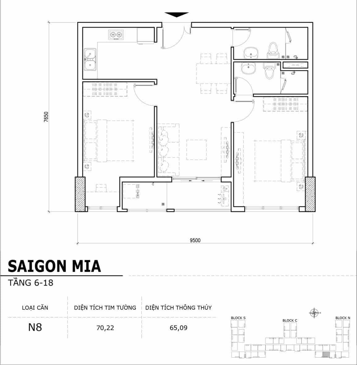 Chi tiết thiết kế căn hộ điển hình tầng 6-18 dự án Sài Gòn Mia - Căn N8