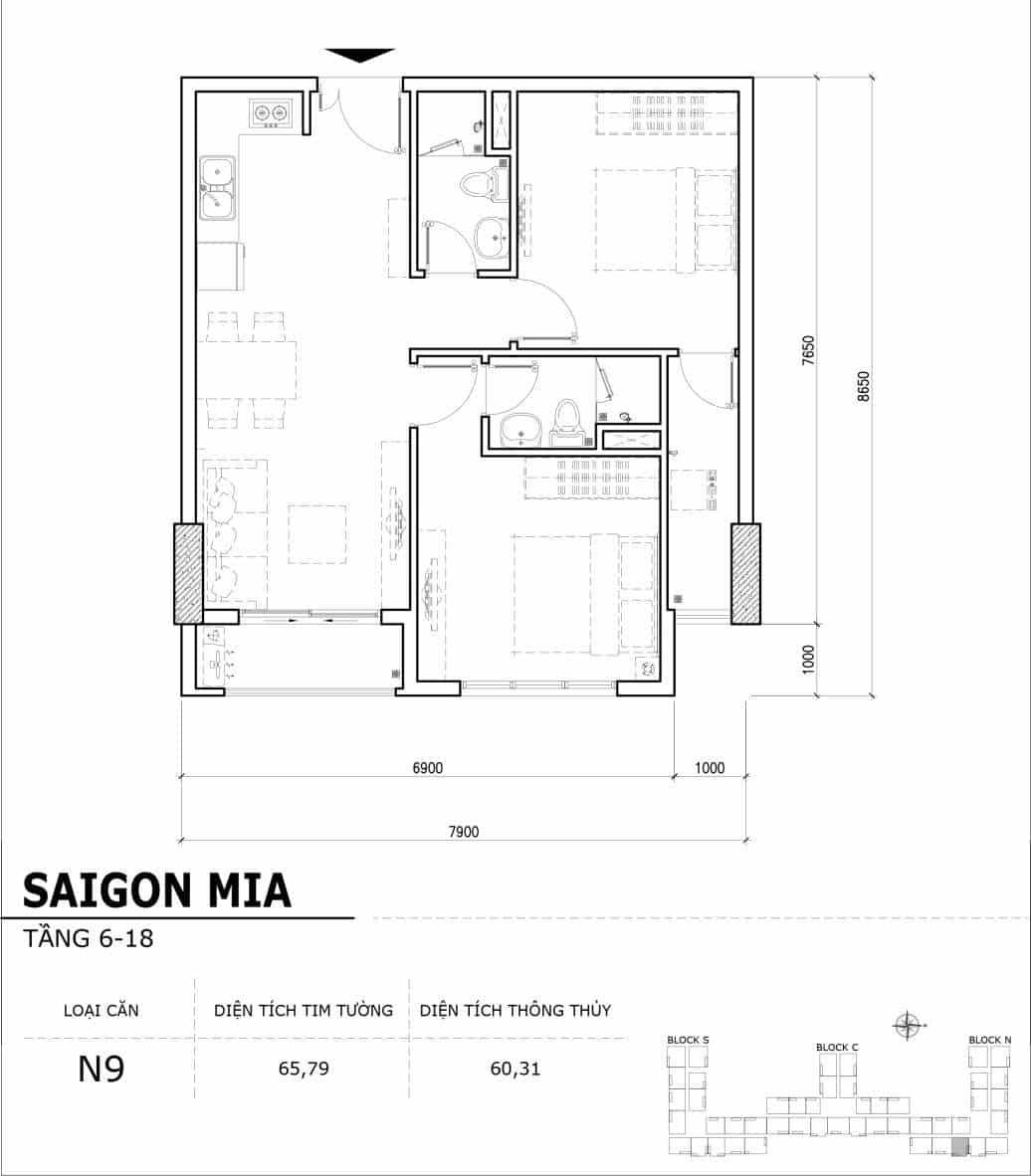 Chi tiết thiết kế căn hộ điển hình tầng 6-18 dự án Sài Gòn Mia - Căn N9