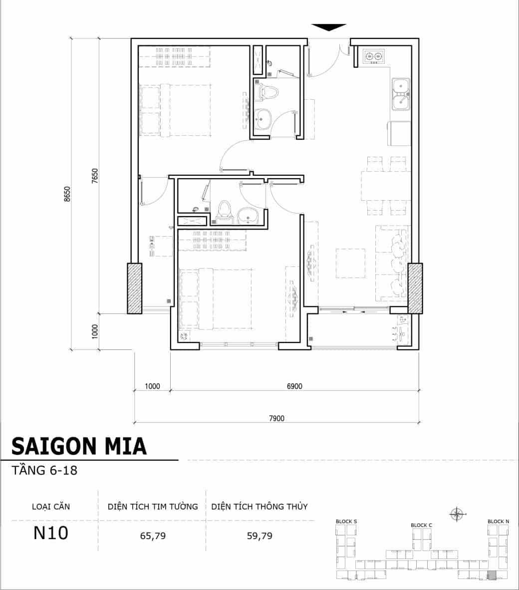 Chi tiết thiết kế căn hộ điển hình tầng 6-18 dự án Sài Gòn Mia - Căn N10
