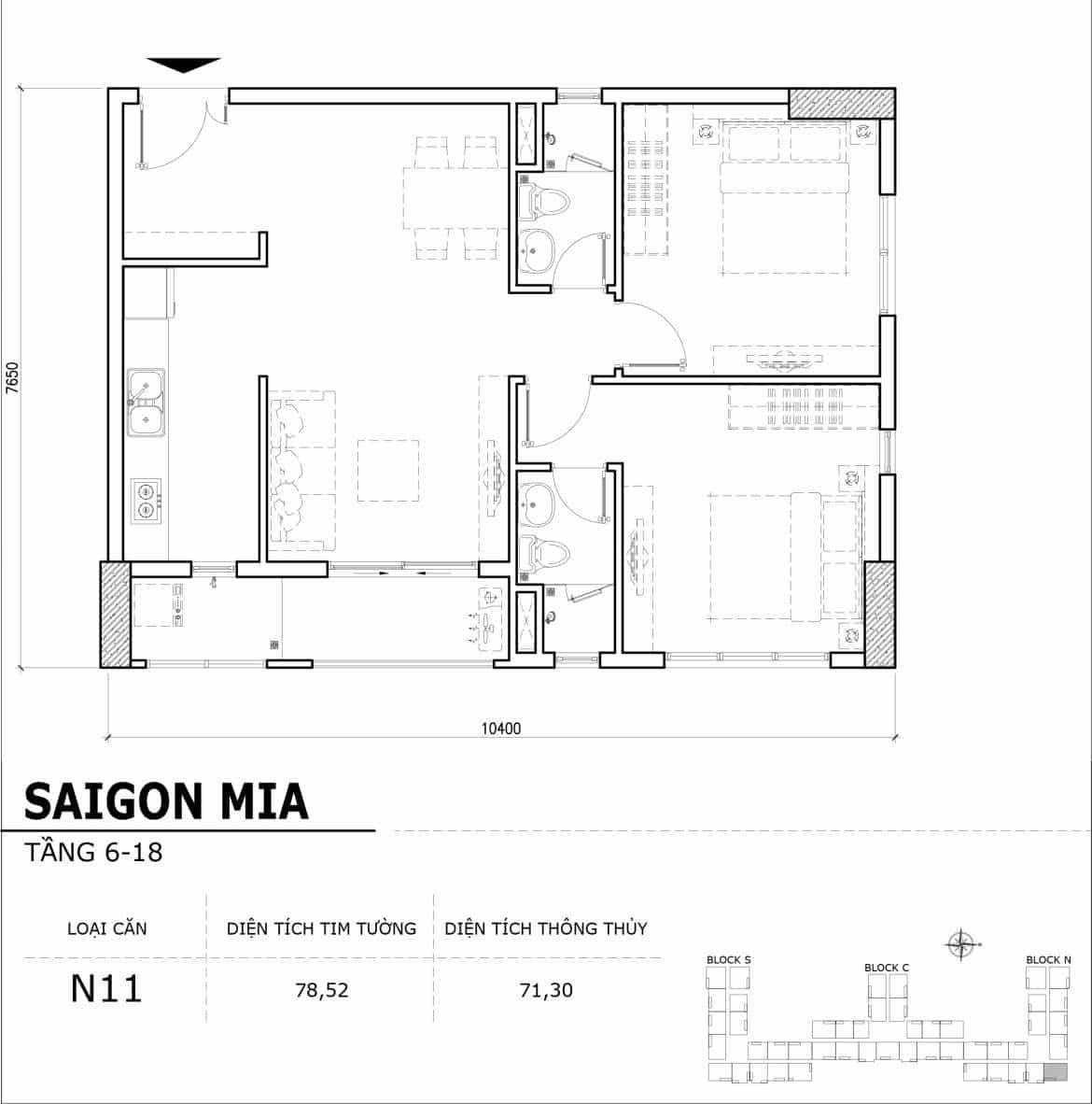 Chi tiết thiết kế căn hộ điển hình tầng 6-18 dự án Sài Gòn Mia - Căn N11
