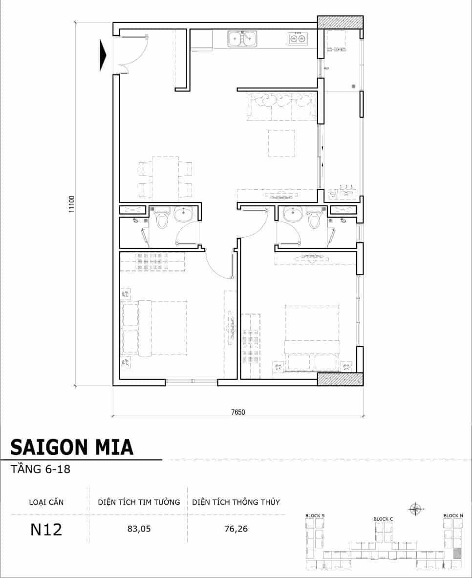 Chi tiết thiết kế căn hộ điển hình tầng 6-18 dự án Sài Gòn Mia - Căn N12