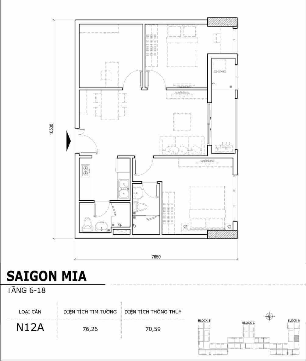 Chi tiết thiết kế căn hộ điển hình tầng 6-18 dự án Sài Gòn Mia - Căn N12A