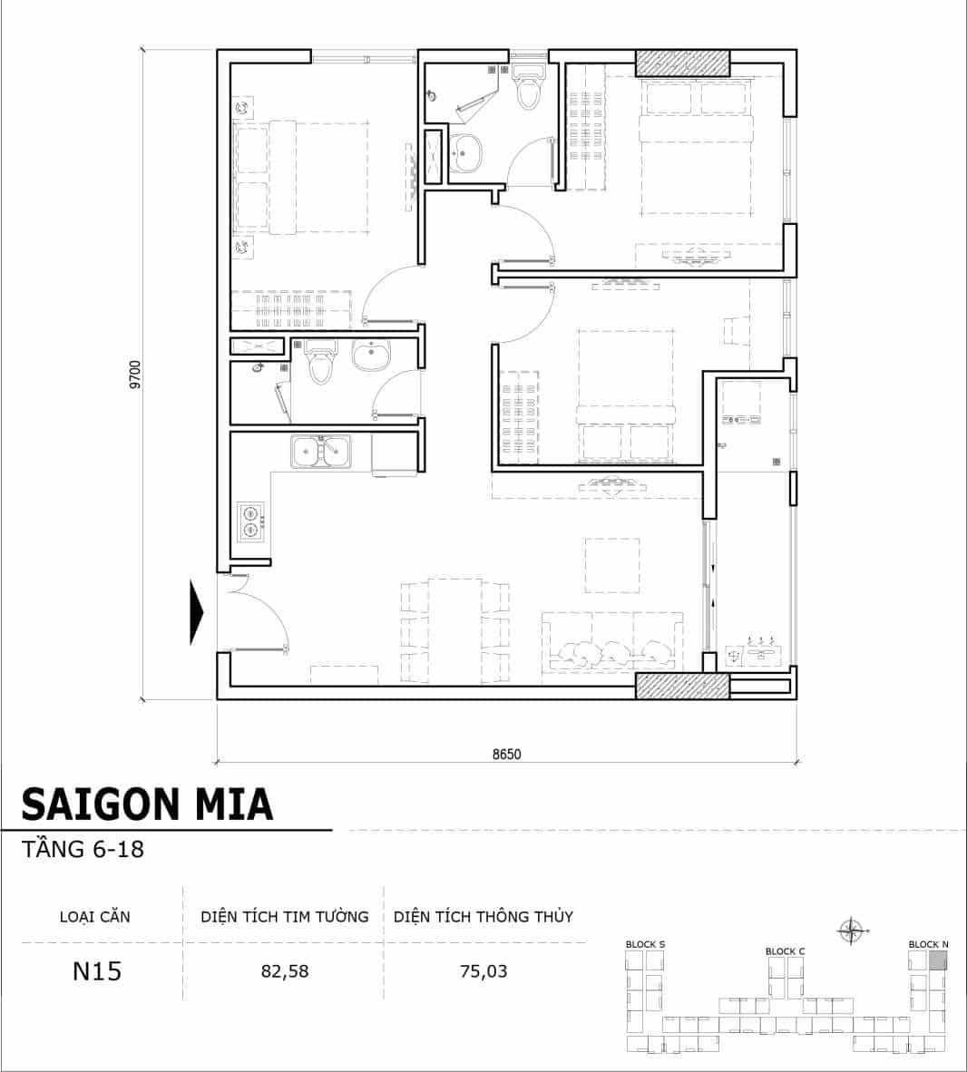 Chi tiết thiết kế căn hộ điển hình tầng 6-18 dự án Sài Gòn Mia - Căn N15