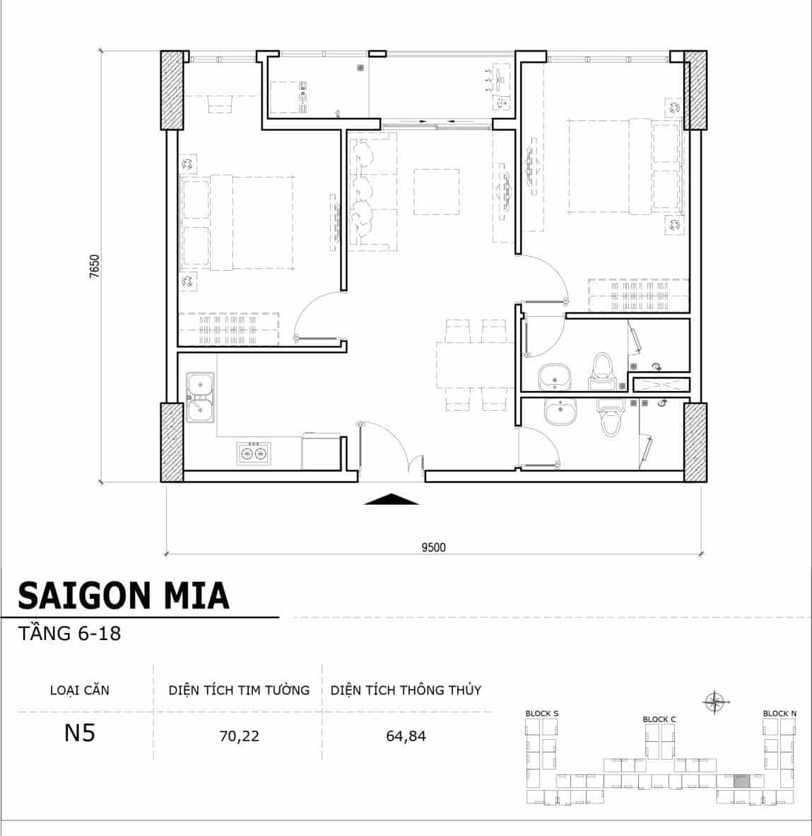 Chi tiết thiết kế căn hộ điển hình tầng 6-18 dự án Sài Gòn Mia - Căn N5
